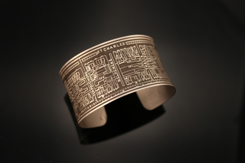 Nine Muses Etched Cuff Bracelet in Sterling Silver