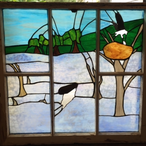 Osprey, stained glass window