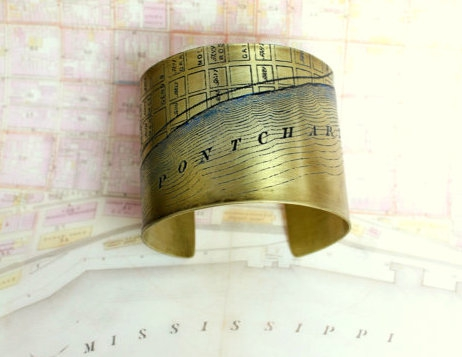 Lake Pontchartrain Etched Cuff Bracelet