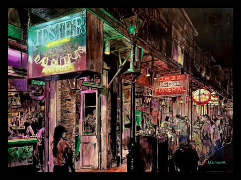 Lundi Gras on Bourbon print