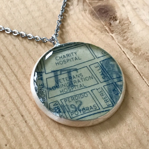 Charity Hospital Map Necklace