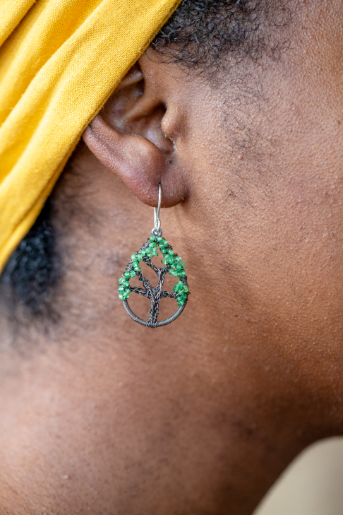 Live Oak Earrings - Tsavorite Garnet