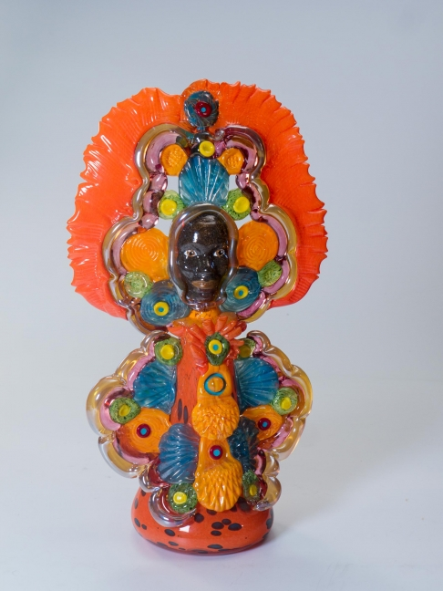 Mardi Gras Indian Queen in Orange