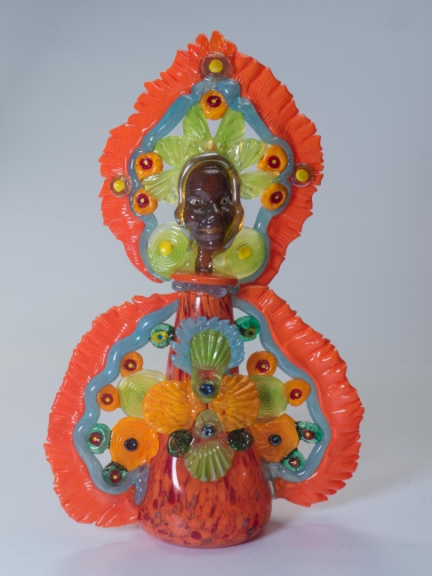 queen mardi Gras Indian orange and pale green