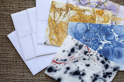 Marbled Note Cards / coal