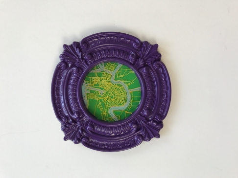 Green New Orleans Map with Purple Frame