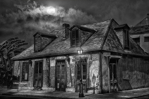 Lafitte's Blacksmith Shop B&W