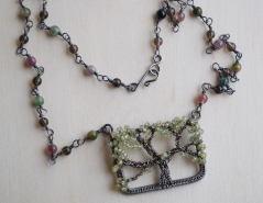 Oak Tree Necklace -- Green Sapphire