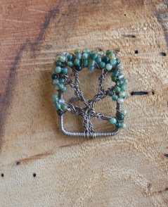 Oak Tree Pin - Moss Agate