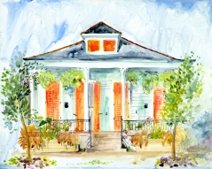 Orange Shutters and Hanging Ferns - print