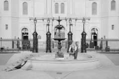 Man in Jackson Square Fountain