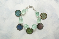 Multi-Colored Coin and Flourite Bracelette