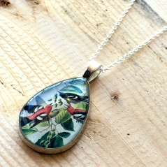 Birdwatcher's Postage Stamp Necklace