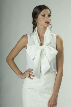 Silk Tank with Convertible Bow Collar