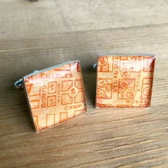 Rustic Red Map Cufflinks