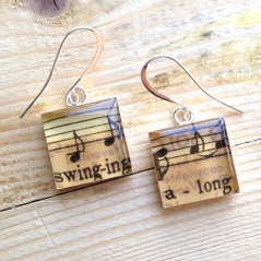 Swinging Along Sheet Music Earrings