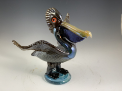 Brown Pelican Glass Sculpture