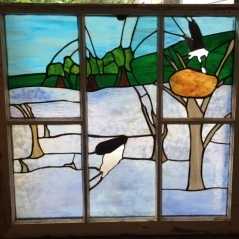 Osprey stained glass window