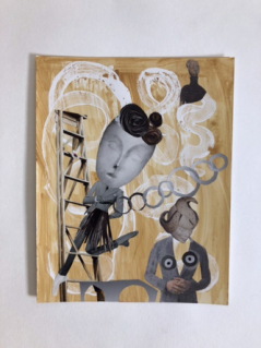 Climbing the Ladder - Second in a Series of Six Original Collage Paintings
