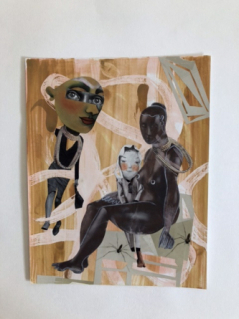 Women with Child - First in a Series of Six Original Collage Paintings