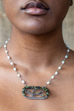 Live Oak Necklace - Tourmaline with Freshwater Pearl