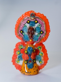 Mardi Gras Indian Queen Orange and Teal
