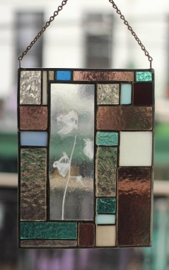 Stained Glass with Sweetpea Flower