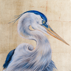 Blue Heron on Gold