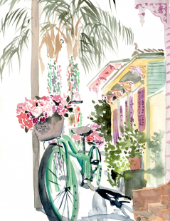 Bicycle in the Marigny watercolor print