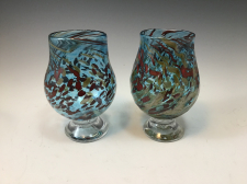 Pale Silver Blue and Red Tumbler