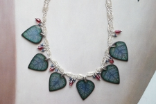 Saphire and Garnet Leaf Necklace (Reversible)/ product view reverse