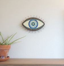 Evil Eye Talisman_Medium_Blue and Black_In Room