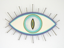 Evil Eye Talisman | Purple and Teal Cat Eye - Medium / Main Image