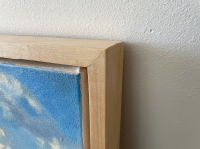 "Rolling Morning detail to show gallery wrapped feature + 2.5"" floating Maple frame"
