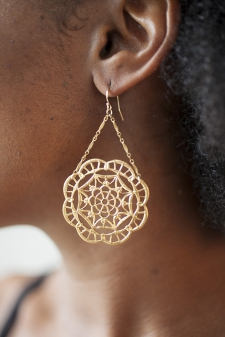 Deco Lace Trapeze Earrings / 14k gold-filled