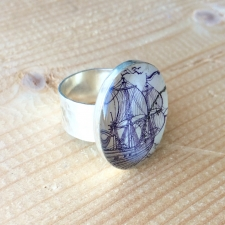 Purple Sails Postage Stamp Ring