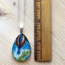 Hot Air Balloon Stamp Necklace