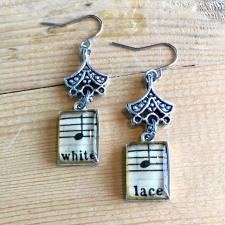 White Lace Sheet Music Earrings / Main Image