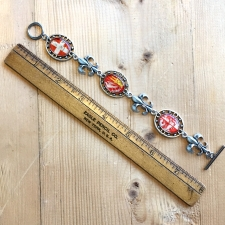 French Postage Stamp Bracelet in Red