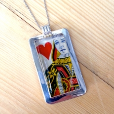 Queen of Hearts Playing Card Pendant
