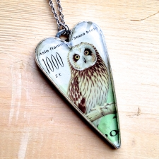 Postage Stamp Owl Necklace / Main Image