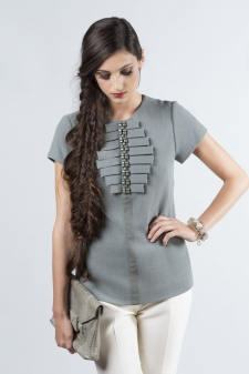 Tailored Tee with Beaded Ruffle Bib / Main Image