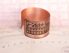 Copper French Quarter (Toulouse St.) Etched Cuff Bracelet - Royal St. View