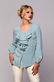 V-Neck Blouse with Cascade Ruffle / Main Image