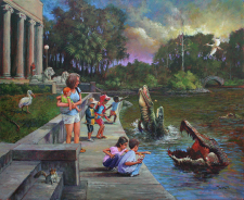 Children Feeding Alligators in City Park / Main Image
