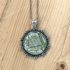 Cemeteries Map Necklace in Green / Main Image