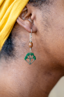 Live Oak Earrings with Wood Bead / Main Image