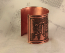 New Orleans Copper Etched Cuff Bracelet
