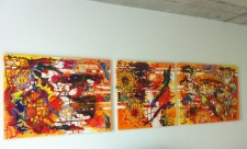 Orange Sofa Triptych on the wall