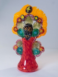 Mardi Gras Indian Vase in Orange / Main Image